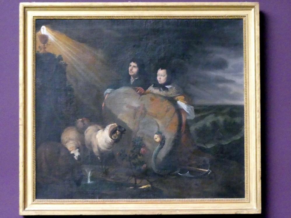 Johann Heinrich Roos: Selbstbildnis des Künstlers (?) mit seiner Frau und den Symbolen des christlichen Glaubens, nach 1675