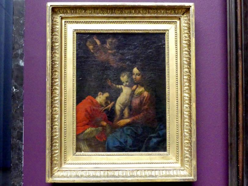 Simone Cantarini (Pesarese): Maria mit Kind vom hl. Karl Borromäus verehrt, um 1640