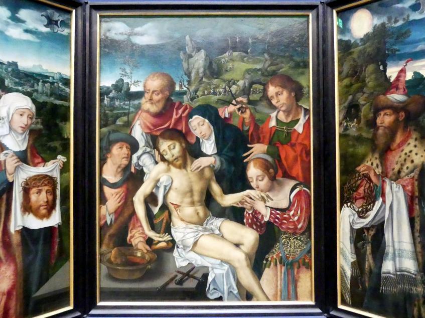 Joos van Cleve (Joos van der Beke): Triptychon mit der Beweinung Christi, 1524, Bild 3/5