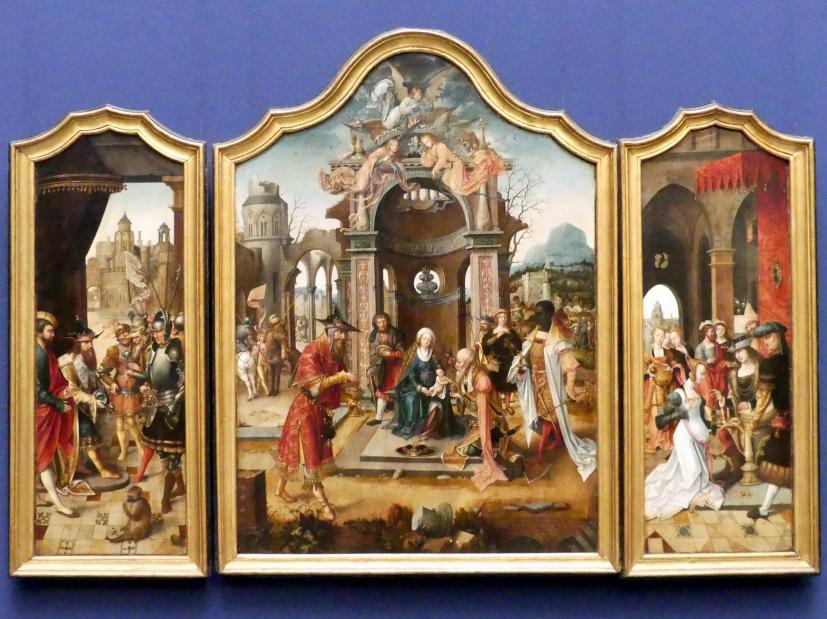 Meister der von Grooteschen Anbetung: Triptychon  mit Königsanbetung und alttestamentarischen Szenen, 1516 - 1519