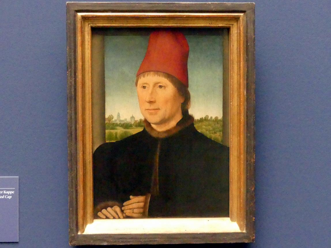 Hans Memling: Bildnis eines Mannes mit hoher roter Kappe, 1470 - 1475