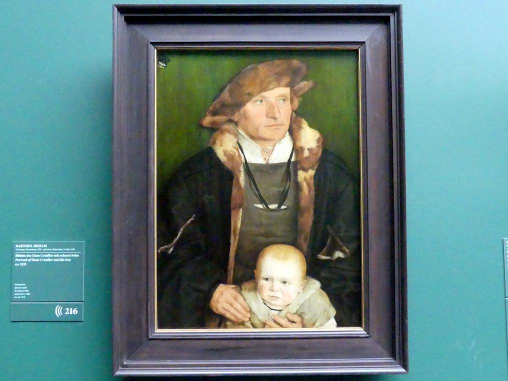 Barthel Beham: Bildnis des Hans Urmiller mit seinem Sohn, Um 1525