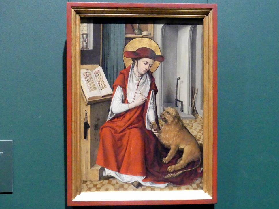 Meister des Hausbuchs: Der hl. Hieronymus in seinem Studierzimmer mit dem Löwen, 1480