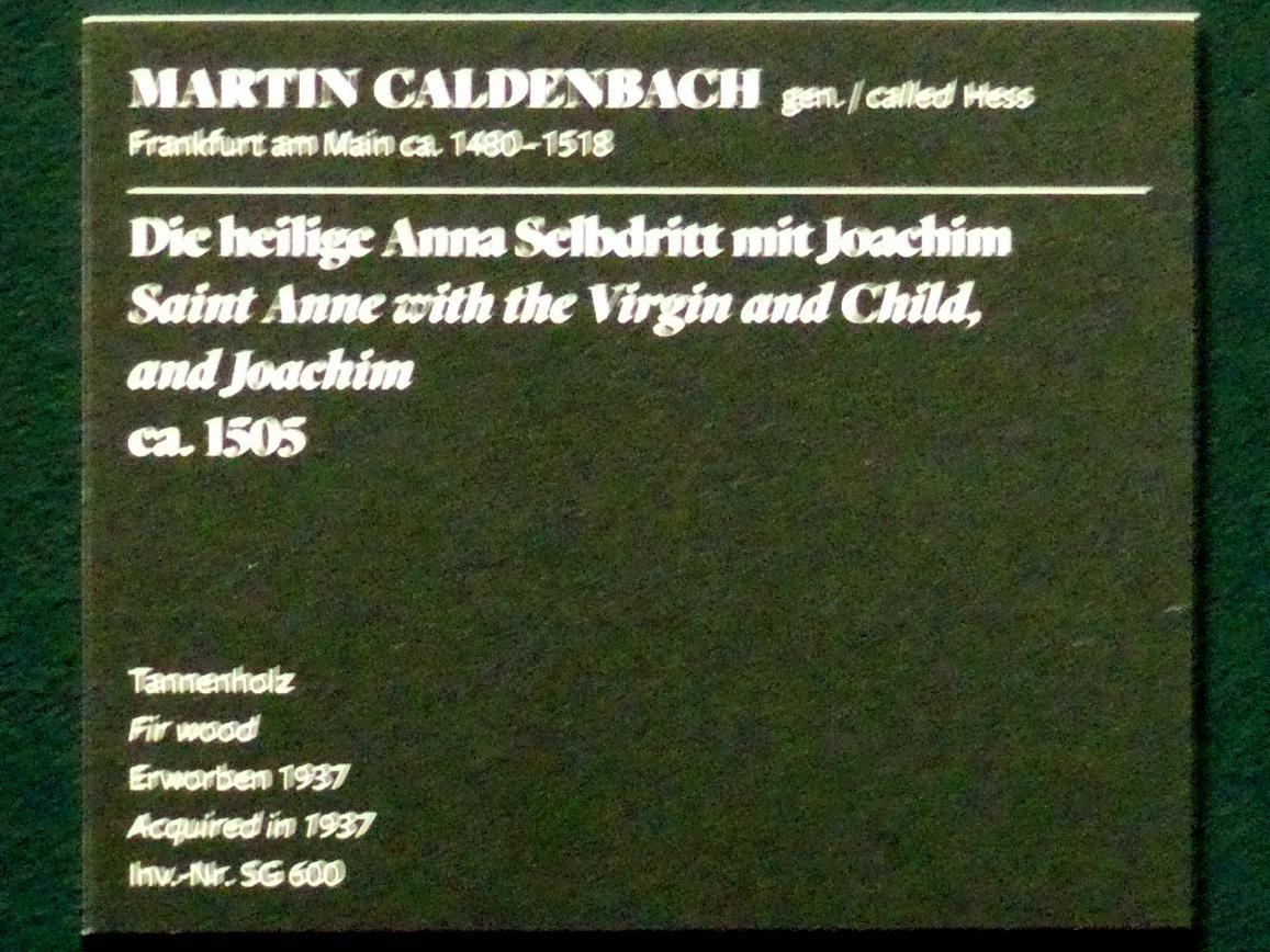 Martin Caldenbach (Hess): Die hl. Anna Selbdritt mit Joachim, um 1505, Bild 2/2