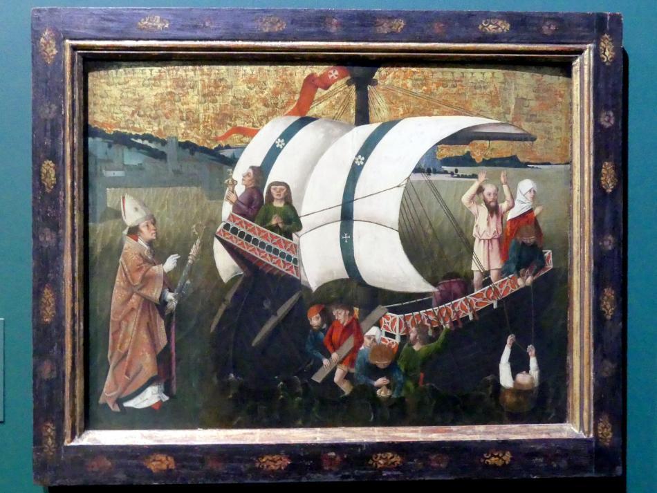 Friedrich Herlin (Umkreis): Darstellung aus der Legende eines heiligen Bischofs, Um 1480