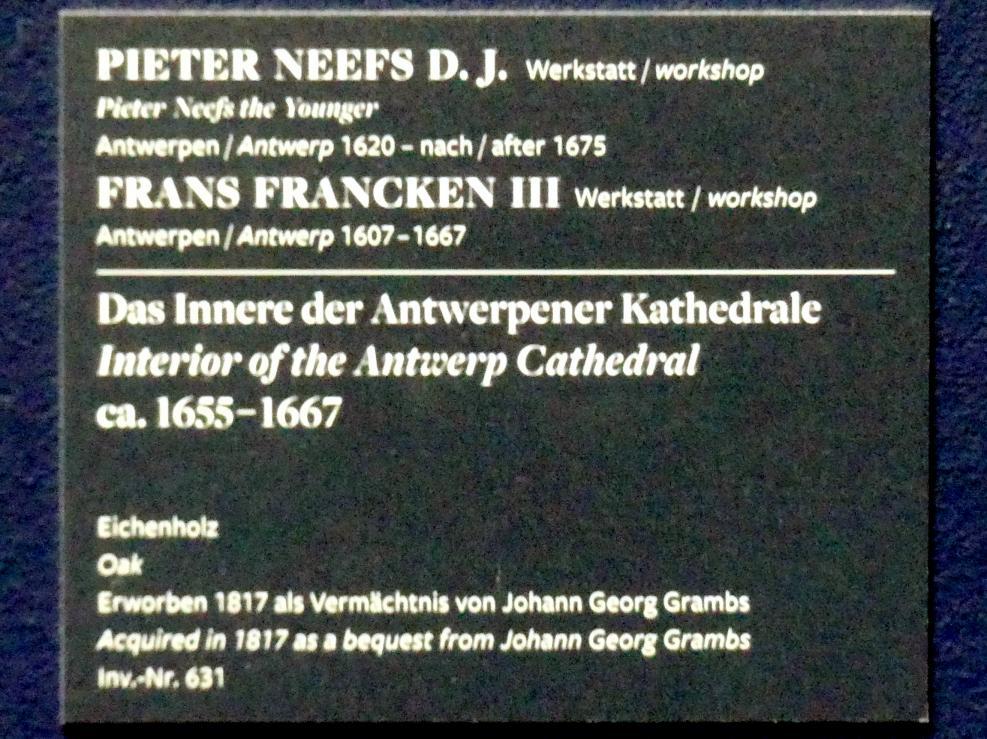 Peeter Neeffs der Jüngere (Werkstatt): Das Innere der Antwerpener Kathedrale, um 1655 - 1667, Bild 2/2