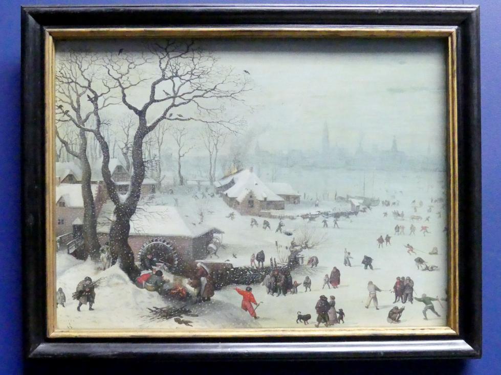 Lucas van Valckenborch: Winterlandschaft bei Antwerpen mit Schneefall, 1573