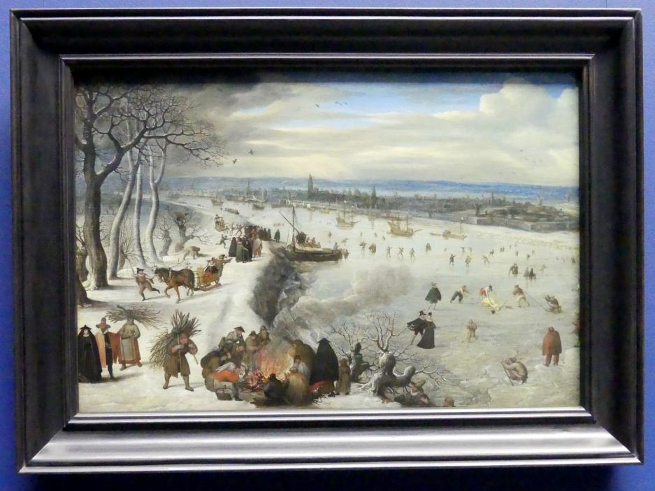 Lucas van Valckenborch: Ansicht von Antwerpen mit zugefrorener Schelde, 1593