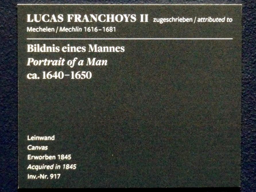 Lucas Franchoys der Jüngere: Bildnis eines Mannes, um 1640 - 1650, Bild 2/2