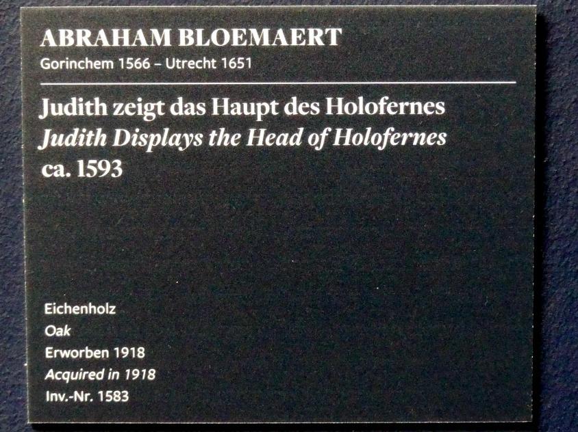 Abraham Bloemaert: Judith zeigt das Haupt des Holofernes, Um 1593