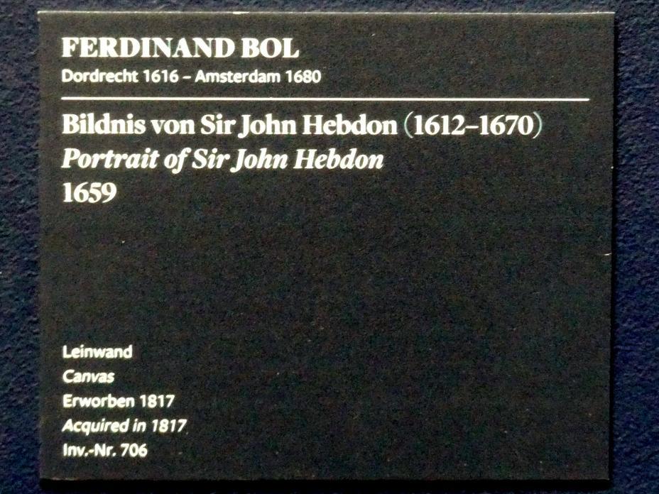 Ferdinand Bol: Bildnis von Sir John Hebdon (1612-1670), 1659, Bild 2/2