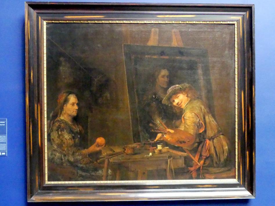 Aert de Gelder: Selbstbildnis als Zeuxis, der eine hässliche alte Frau portratiert, 1685