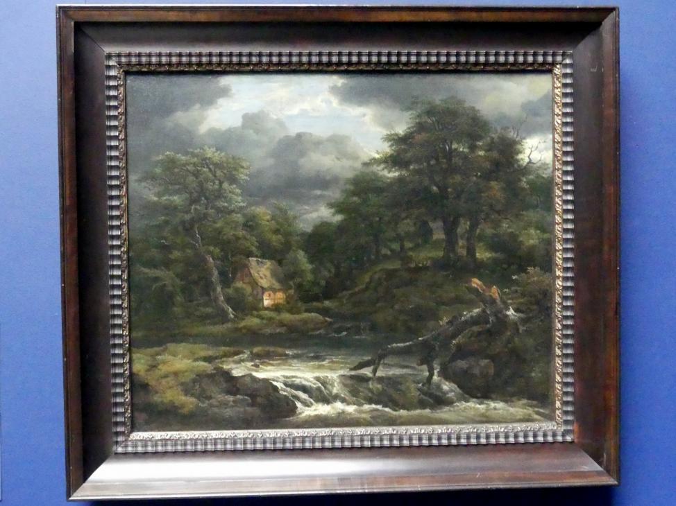 Jacob van Ruisdael: Waldlandschaft mit Wasserfall bei aufziehendem Gewitter, Um 1655