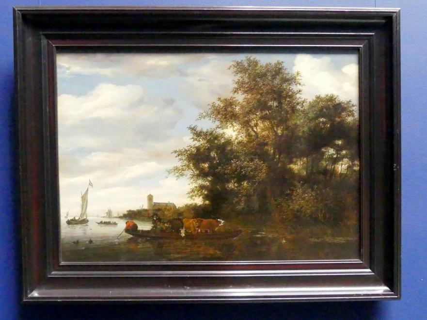 Salomon van Ruysdael: Flusslandschaft mit einer Fähre, 1664