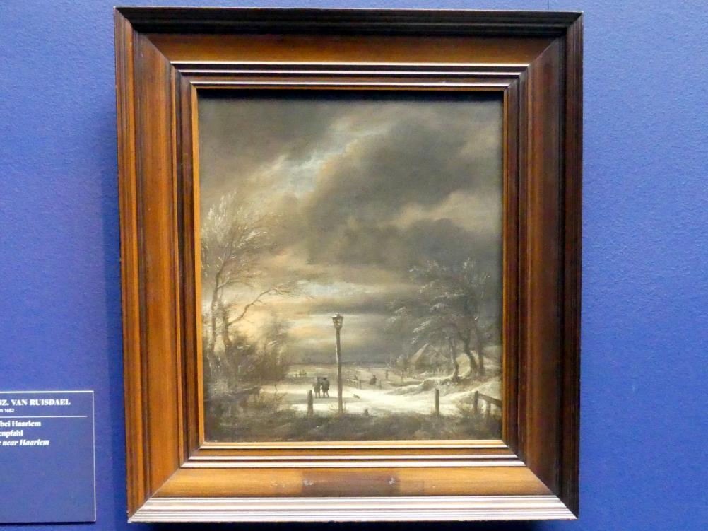 Jacob van Ruisdael: Winterlandschaft bei Haarlem mit einem Laternenpfahl, um 1670 - 1680