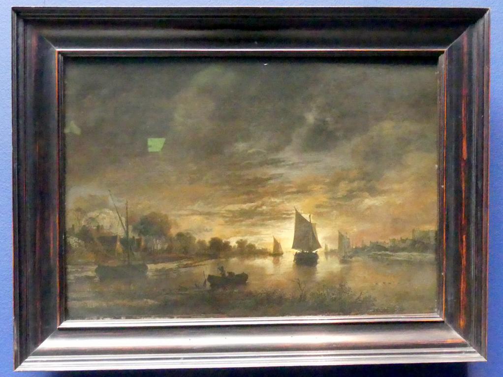 Aert van der Neer: Flusslandschaft mit Schiffen bei aufgehendem Mond, Um 1660 - 1670
