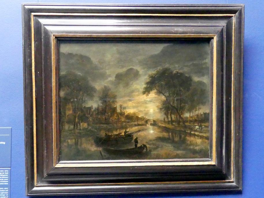 Aert van der Neer: Nächtliche Kanallandschaft mit Fischerbooten, um 1645 - 1650, Bild 1/2