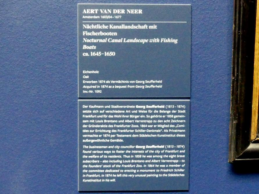 Aert van der Neer: Nächtliche Kanallandschaft mit Fischerbooten, um 1645 - 1650, Bild 2/2
