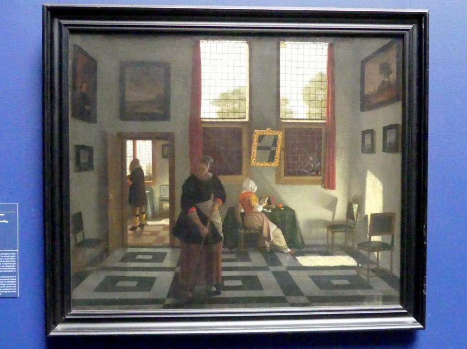 Pieter Janssens Elinga: Interieur mit Maler, lesender Dame und kehrender Magd, um 1665 - 1670