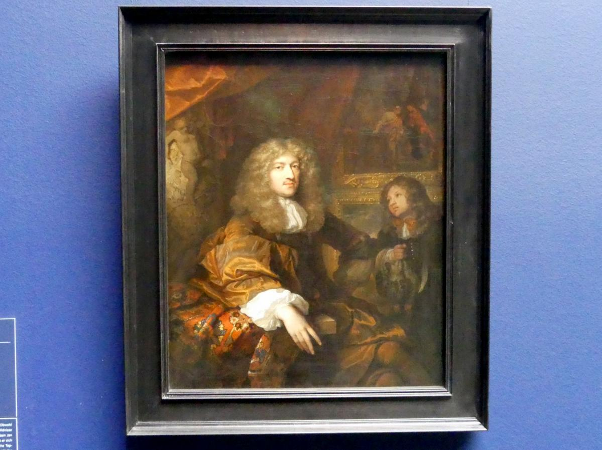 Caspar Netscher: Bildnis von Pieter Six (1655-1703) mit einem Diener mit Jagdbeute, 1677