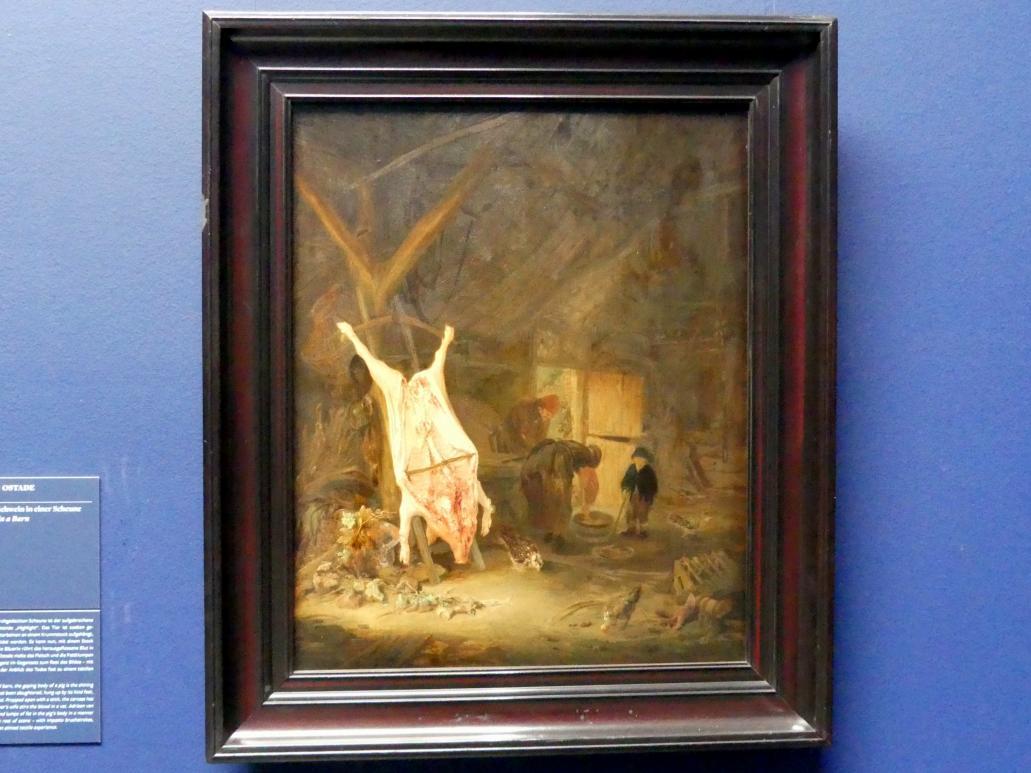 Adriaen van Ostade: Geschlachtetes Schwein in einer Scheune, 1643