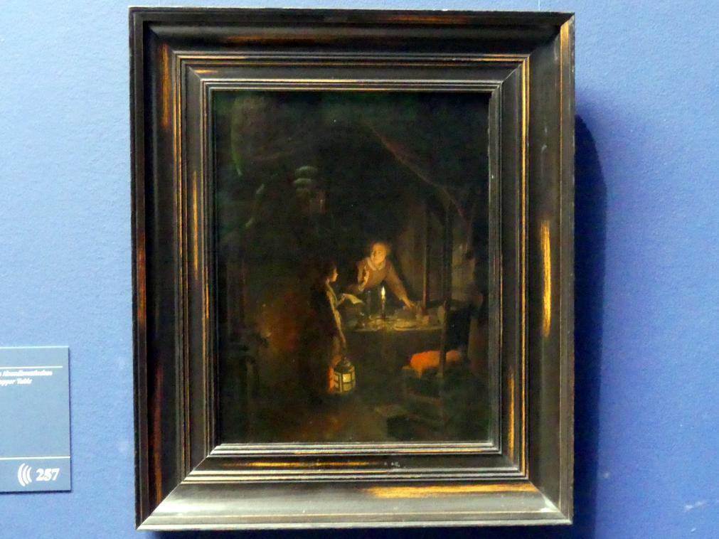 Gerard Dou (Gerrit Dou): Frau beim Ordnen des Abendbrottisches, Um 1655 - 1660