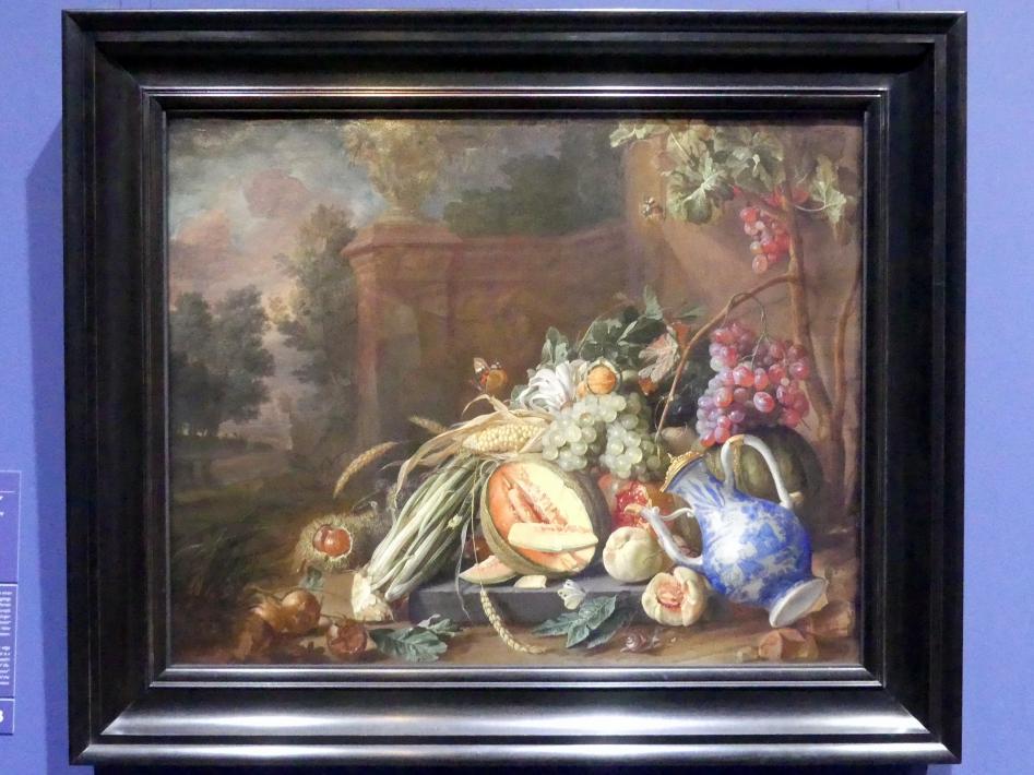 Cornelis de Heem: Stillleben mit Gemüse und Früchten vor einer Gartenbalustrade, 1658