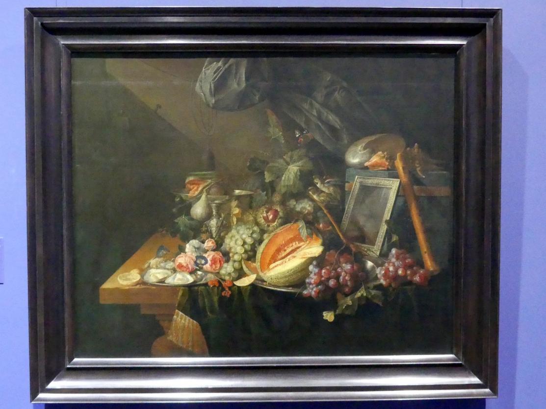 Cornelis de Heem: Prunkstillleben mit kopulierenden Spatzen, 1657