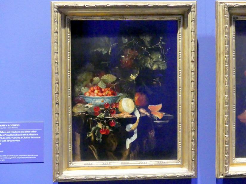 Harmen Loeding: Stillleben mit Früchten und einer chinesischen Porzellanschüssel mit Erdbeeren, 1665