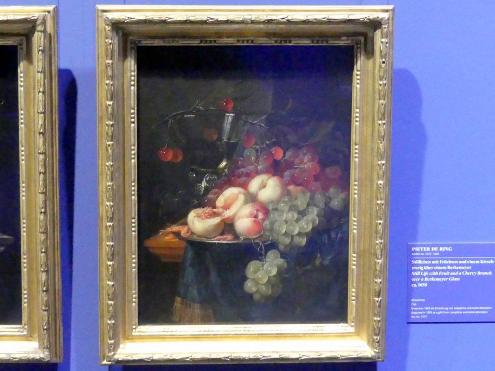 Pieter de Ring: Stillleben mit Früchten und einem Kirschzweig über einem Berkemeyer, um 1658