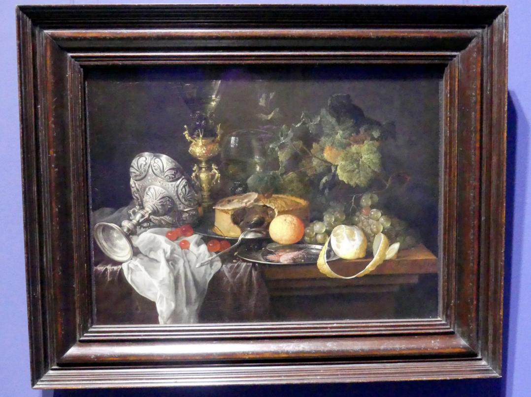 Jan Davidsz. de Heem: Prunkstillleben mit Früchten, Pastete und Trinkgeschirr, 1651