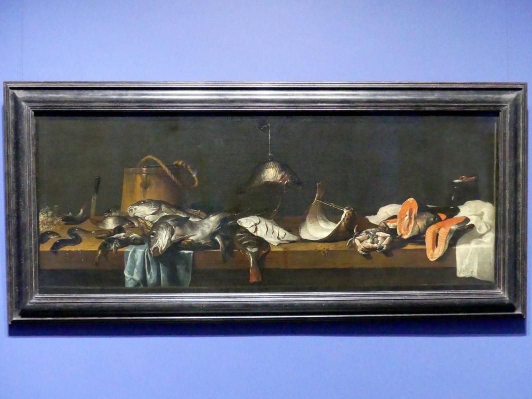 Jacob Foppens van Es: Stillleben mit Fischen auf einer Verkaufsbank, Um 1635 - 1640