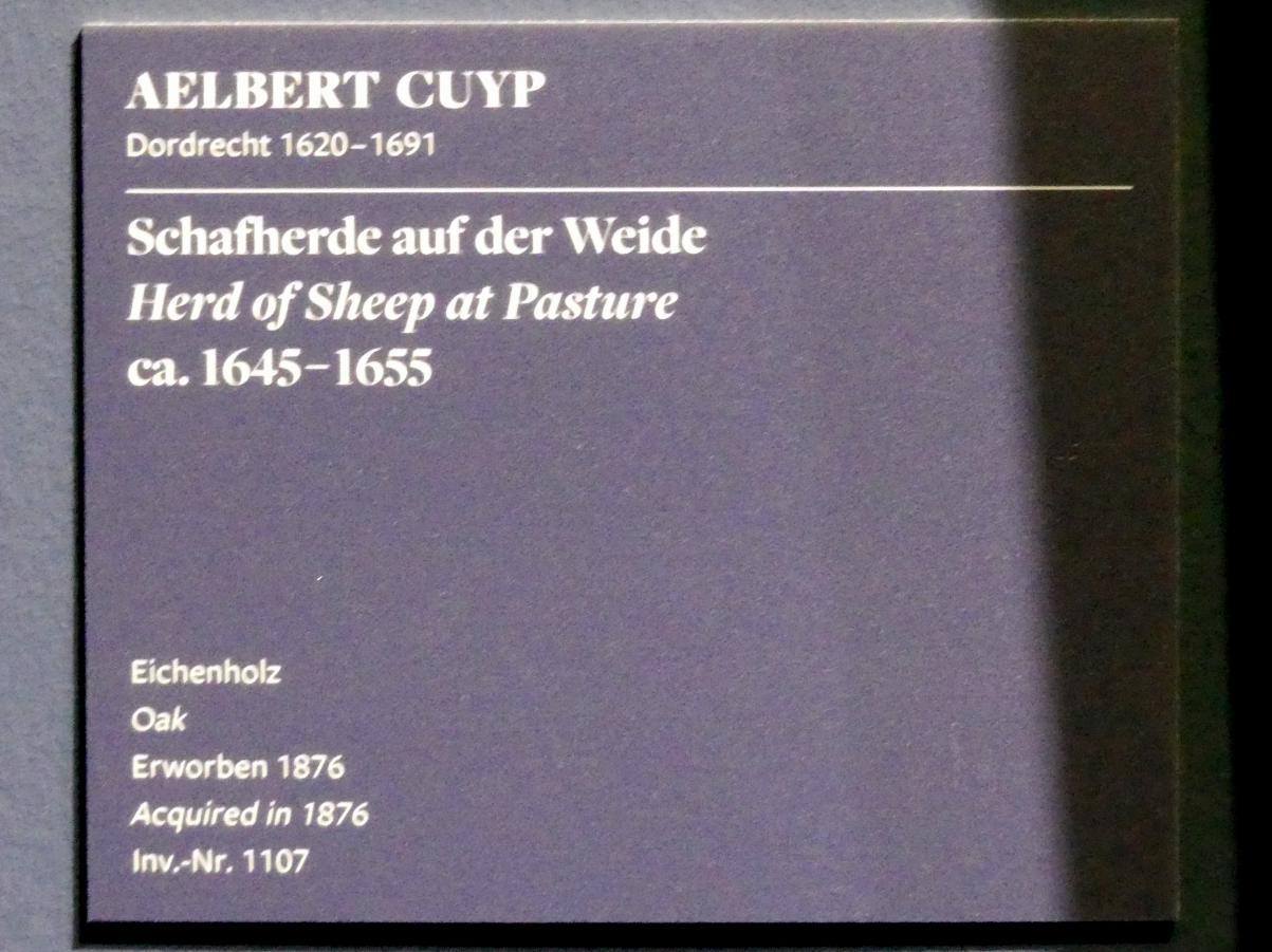 Aelbert Cuyp: Schafherde auf der Weide, 1645 - 1655, Bild 2/2