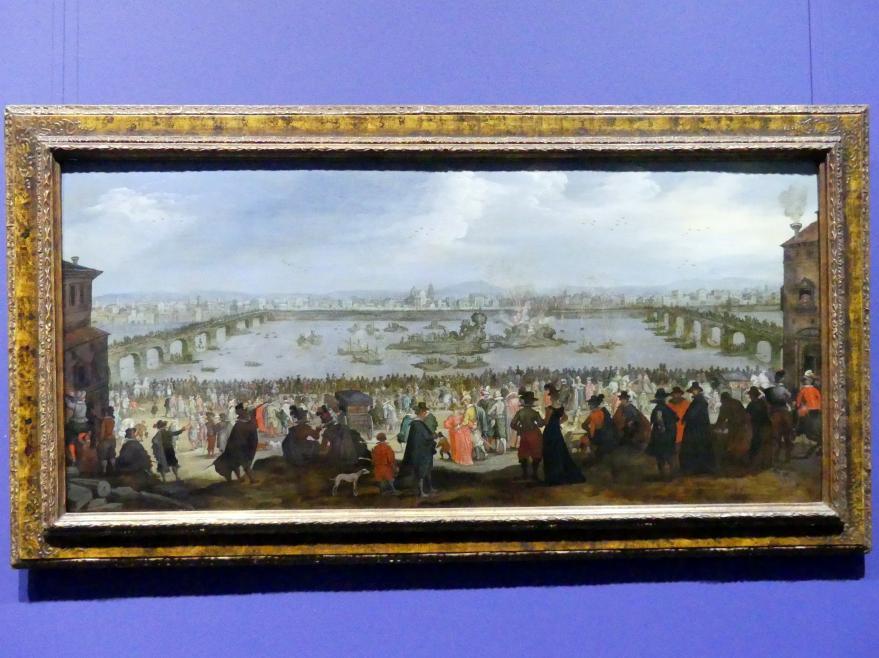 Jacques Callot (Nachfolger): Die Schauschlacht zwischen der Weber- und der Färberzunft auf dem Arno in Florenz am 25.Juli 1619, nach 1619