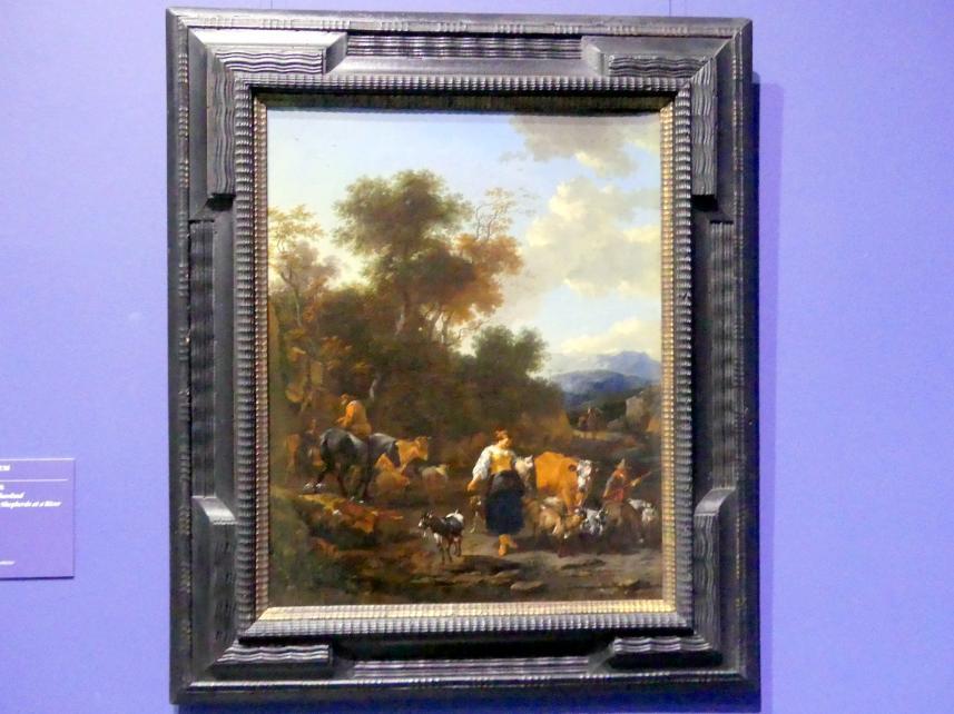 Nicolaes Berchem: Italienische Landschaft mit Hirten an einem Flusslauf, um 1650 - 1655