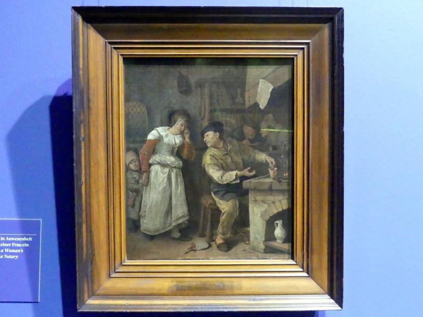 Jan Havickszoon Steen: Ein Goldschmied schmilzt in Anwesenheit eines Notars den Schmuck einer Frau ein, um 1668 - 1670