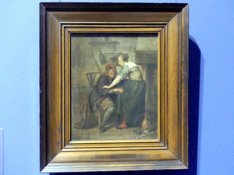 """Jan Havickszoon Steen: Wirtshaus mit Gast und Schankmagd (""""Der aufdringliche Gast""""), um 1665"""