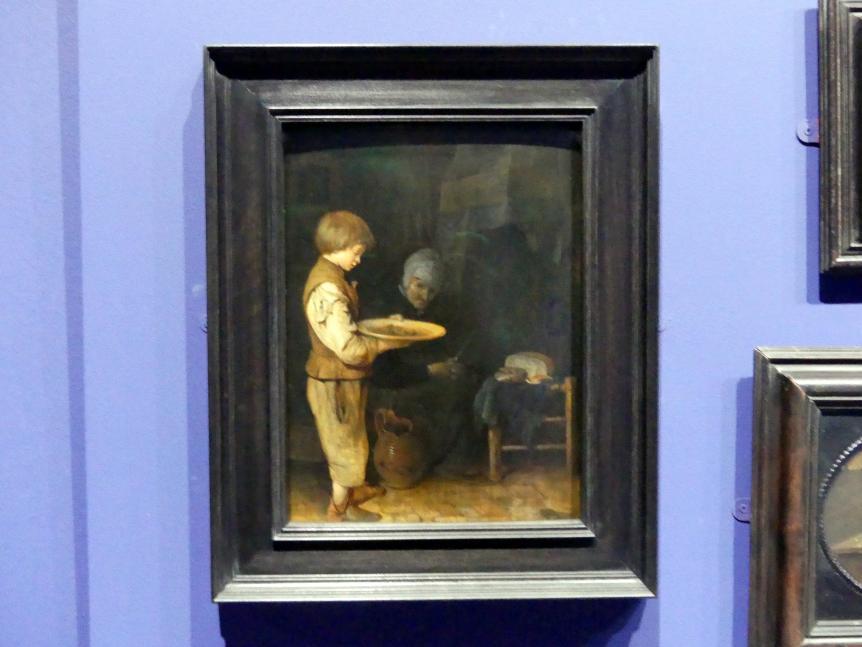Gerard ter Borch: Alte Frau und Knabe bei einem bescheidenen Mahl, 1648