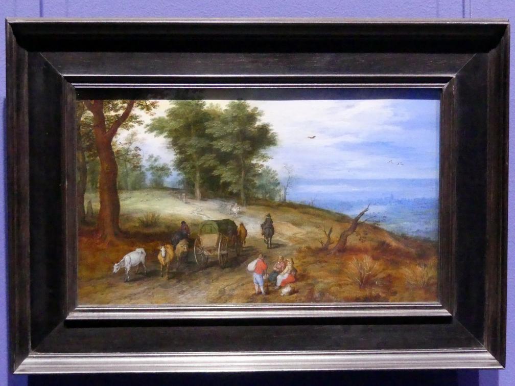 Jan Brueghel der Ältere (Blumenbrueghel): Waldige Landschaft mit Figuren, um 1605 - 1610