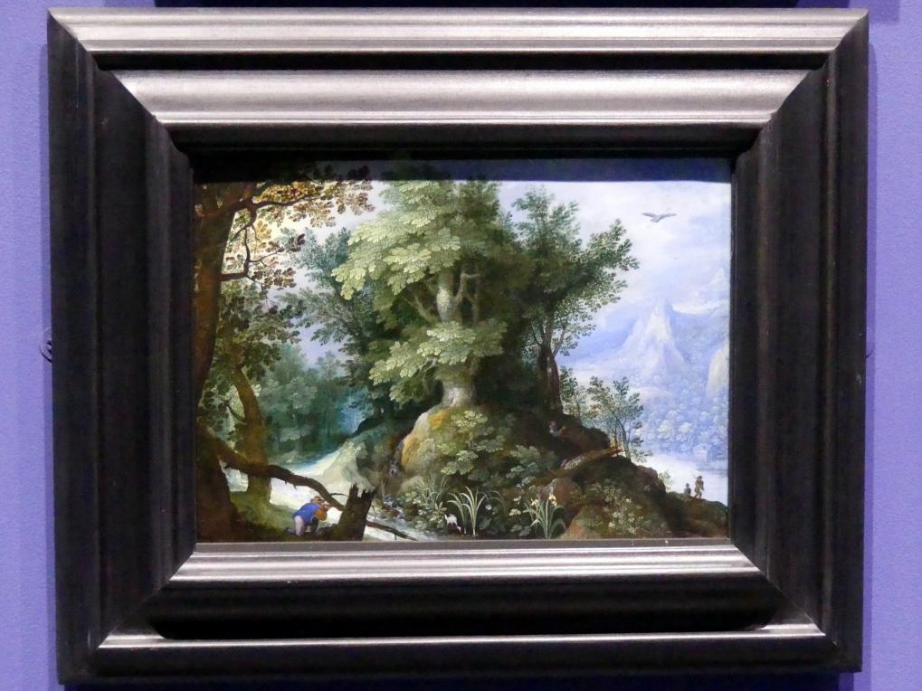 Gillis van Coninxloo (Umkreis): Waldlandschaft mit Jägern, Um 1600