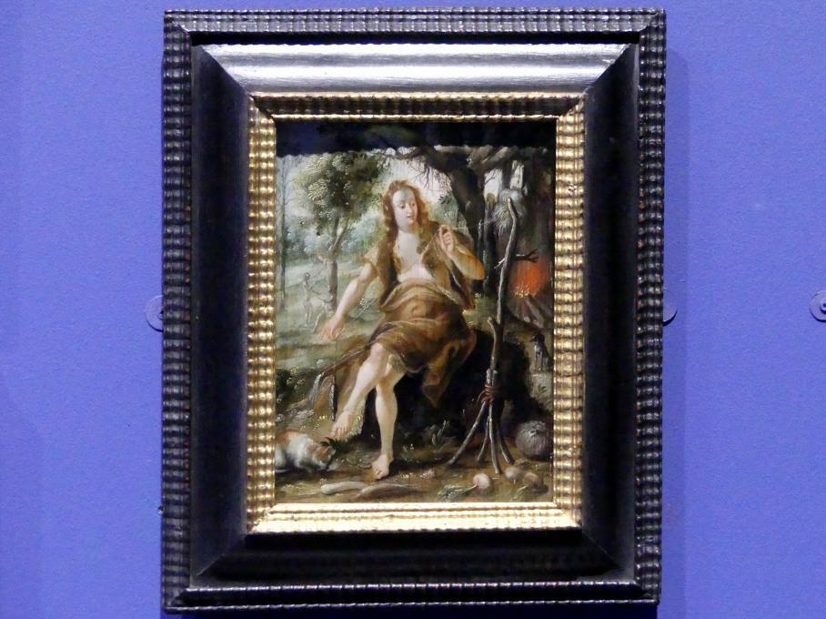 Hans Ammon: Eva am Spinnrocken, im Hintergrund der Sündenfall, um 1615 - 1620