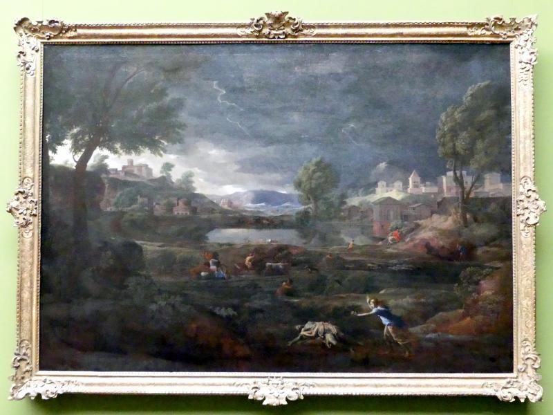 Nicolas Poussin: Gewitterlandschaft mit Pyramus und Thisbe, 1651