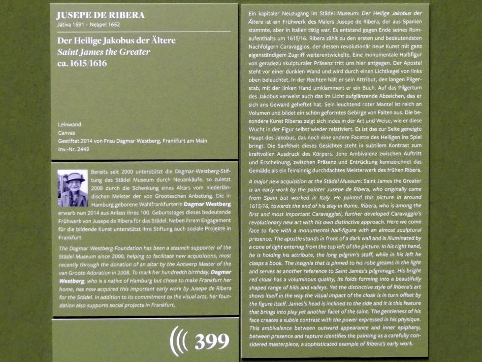 Jusepe de Ribera: Der Heilige Jakobus der Ältere, um 1615 - 1616, Bild 2/2