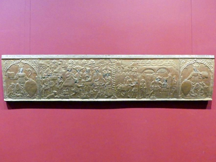 Front einer Hochzeitstruhe (Cassone), 1. Hälfte 15. Jhd.