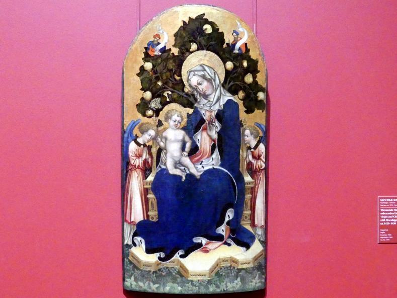 Gentile da Fabriano (Nachfolger): Thronende Madonna mit Kind, anbetenden Engeln und Propheten, um 1420 - 1430