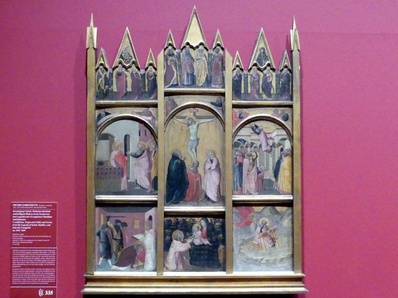 Pietro Lorenzetti: Kreuzigung Christi, Madonna mit Kind und heiligem Diakon sowie Szenen aus den Legenden der Evangelisten Matthäus und Johannes, um 1345 - 1350