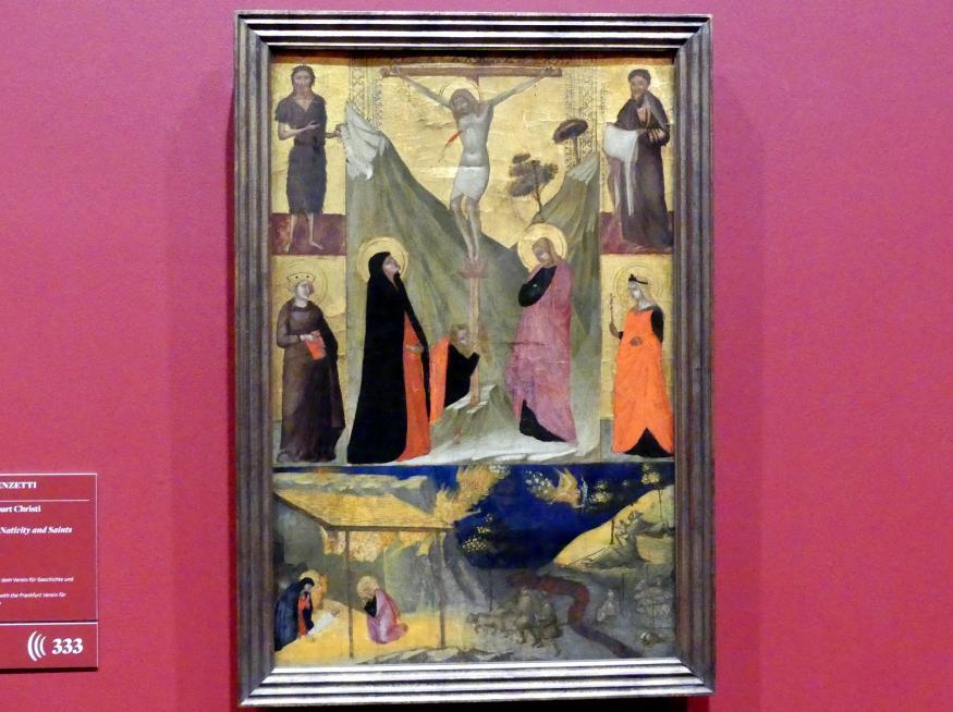 Ambrogio Lorenzetti: Kreuzigung und Geburt Christi sowie Heilige, Um 1320 - 1325
