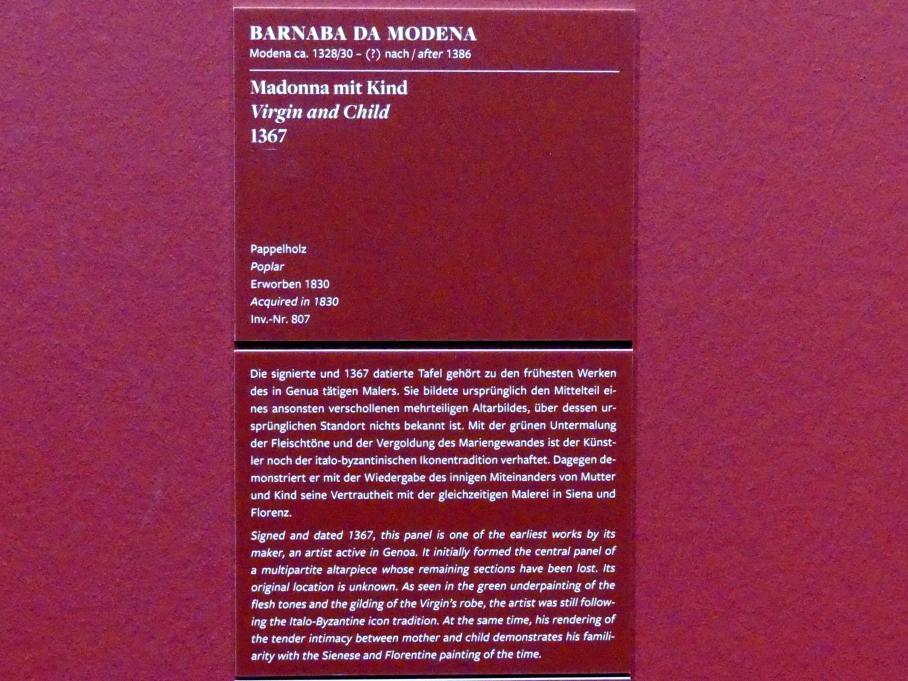 Barnaba da Modena (Barnaba Agocchiari): Madonna mit Kind, 1367