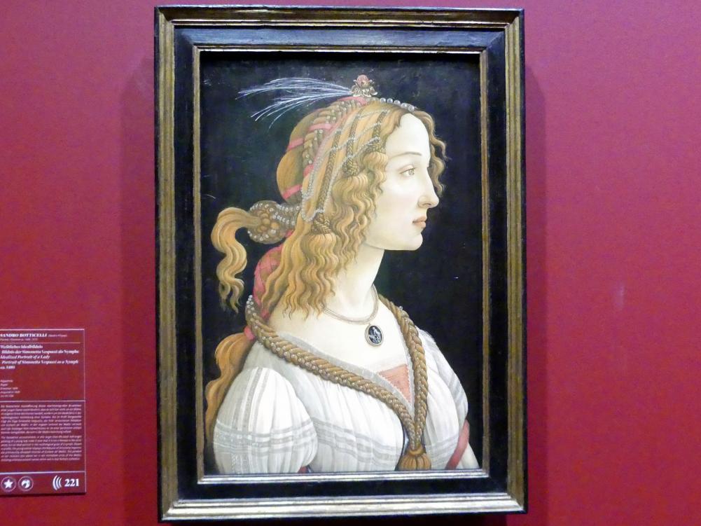 Sandro Botticelli: Weibliches Idealbildnis (Bildnis der Simonetta Vespucci als Nymphe), um 1480