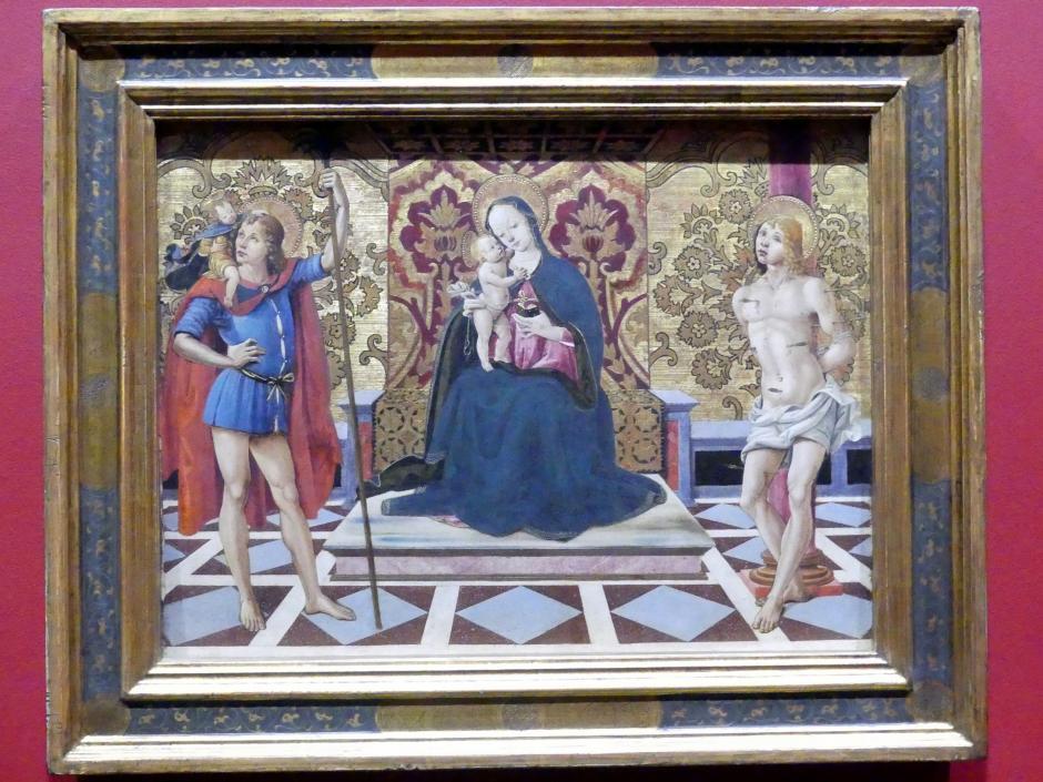 Fiorenzo di Lorenzo: Thronende Madonna mit Kind und den hll. Christophorus und Sebastian, um 1498 - 1525
